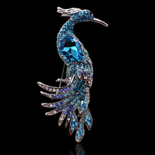 Blue cz crystal rhinestone peacock phoenix bird fashion pin brooches