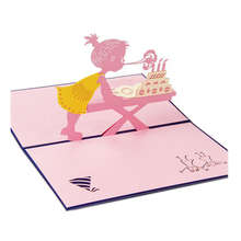 Hot Sale Greeting Cards With Envelope Pop Up 3d Card Beautiful Foldable Cut Paper Creative Handmade Girl Children Birthday Gift