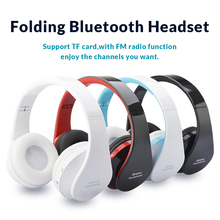 Foldable Wireless Headphones Portable Bluetooth Stereo Sport Headsets w/ Microphone Handsfree Headband Earphones for Smartphone