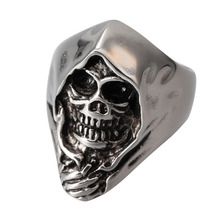 Rings Real Anillos 2016 New Men's Gothic Emo Biker 316l Stainless Steel Anarchy Grim Reaper Skull Demon Ring Band Factory Price(China)