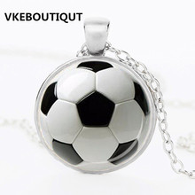 2017 Fashion Football Picture Glass Pendant Necklace Fashion Women and Men Necklace