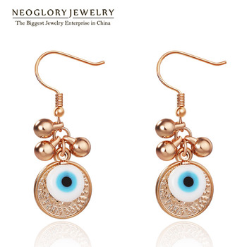 Neoglory Jewelry Glass Beads Gold Plated evil eye Drop Earrings for Women Fashion Jewelry 2017 Brand Brand New Party Gift