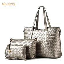 3Pcs/Set Women Black Bucket Bag Ladies Handbags PU Leather Shoulder Bag Luxury Brand Designer Handbag Braided Lines Tote Bag