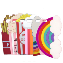 3D Beer Milk Shake Lobster Soft Case For iphone X 5S SE 5C 4 6 6S 7 7 8 Plus Rainbow Cover Popcorn Fries Ice Cream Phone Shell(China)