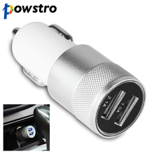 Powstro Aluminum 2 USB Ports Car Charger 2.1A 1.0A Micro Dual USB Car Charger For iPhone 5 6 plus For ipad 4 5 For Samsung S4 S5
