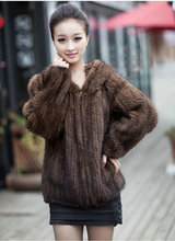 Free shipping Real Knitted Mink Fur Women Coats Fashion Long Sleeve Design Female Fur Winter Jacket With Hood Mink Coat(China)