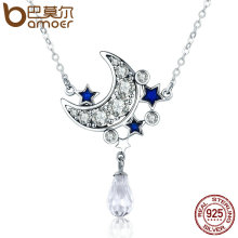 BAMOER Genuine 925 Sterling Silver Crescent Moon & Star Shimmering Crystal Pendant Necklaces for Women Fine Jewelry Gift SCN110(China)