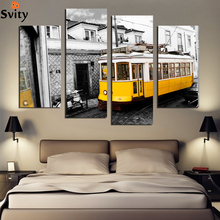 Retro Style 4 Piece Yellow Bus Canvas Print Canvas Painting Home Decor Wall Art Picture for Living Room No Frame F1856