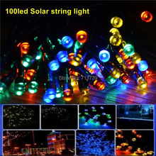 100LEDs 12 m Waterproof Decorative Copper Globe Solar Powered Led StringLights Outdoor Garden Patio Lantern(China)