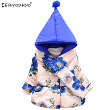 Children Jackets For Girls Clothes KEAIYOUHUO Winter Warm Girls Coats Hooded Long Sleeve Cotton Print Down Jacket Kids Clothing