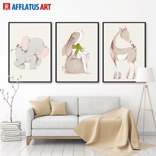 AFFLATUS Wall Painting Nordic Animal Rabbit Horse Elephant Canvas painting Canvas Poster Print Wall Pictures Kid Room Home Decor(China)
