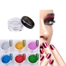 Hot sell 2g/Box Holographic Laser Powder Nail Glitter Rainbow Chrome Powder Metal Dust Nail Tools with Eyeshadow