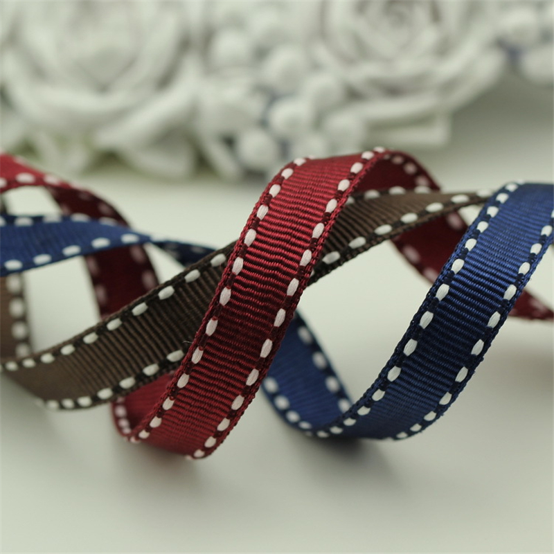 5meter/lot featured three-color 10mm white line ribbed hand-made diy jewelry material hair accessory ribbon satin T-051