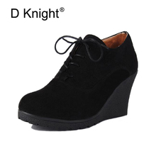2017 New Wedges Boots Fashion Flock Women's High-heeled Platform Wedges Ankle Boots Lace Up High Heels Wedges Shoes For Women