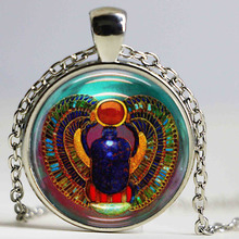 Scarab Necklace Glass Tile Necklace Egyptian Necklace Glass Jewelry Pendant(China)