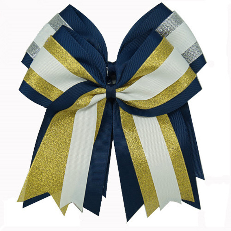 8 Inch Baby Grils Cheerleading Hair Bows With Elastic Bands Navy Grosgrain Cheer Bows With Gold Silver Organza Hair Accessories<br><br>Aliexpress