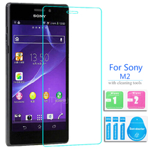 Premium Real Tempered Glass Film For Sony M2 M4 M5 aqua Mobile Phones Glasses 9H HD Lcd Screen Protector Cover + Clean Kit