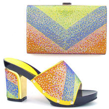 Italian shoe and matching bag for african wedding with nice hand bag african shoe and bag set YELLOW heel 8cm shoe and bag