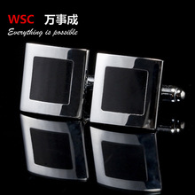 2016 high quality Black Enamel Silver Tone Square Shirt Cuff Cuff links for Wedding Best Man Usher free shipping(China)