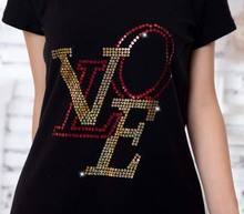 2pc/lot Sequins LOVE  letter decoration hot fix rhinestone motif ron on crystal transfers design rhinestones for shirt