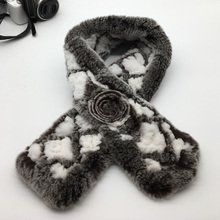 2017 Natural fur kintted scarf women`s scarfs winter real Rex rabbit fur new arrival shawl fashionable and hot sale TU119(China)