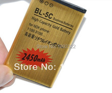 High Capacity 3.7V 2450mah Gold BL-5C BL 5C replacement Battery for Nokia 3650 1100 6230 6263 6555 1600