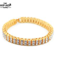 "2 Row Crystal Iced Out Men Lady Bling Tennis Chain HipHop Bracelet 8 "" punk bracelet(China)"