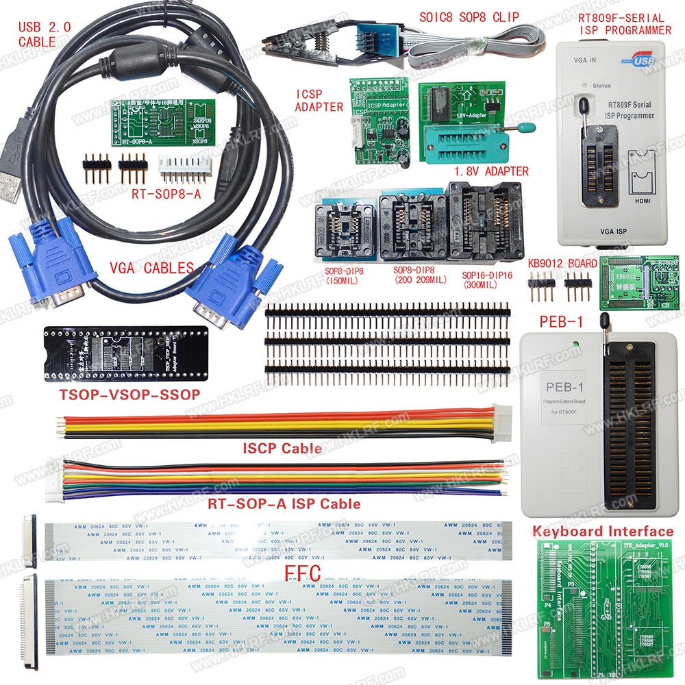 RT809F Programmer Electronic Kits LCD Universal EPROM FLASH VGA ISP AVR GAL PIC Programmer + PEB-1 Expansion board+FFC Line(China (Mainland))