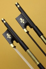 2pcs high quality new black Carbon fiber violin bow 4/4 full size one white and one black horse hair Free Shipping