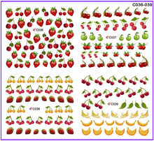 4 PACKS / LOT FULL COVER FRUIT BANANA STRAWBERRY CHERRY NAIL TATTOOS STICKER WATER DECAL NAIL ART C036-039
