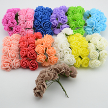 12pcs/lot Simulation Mini Rose Artificial flower foam flower diy flower ball garland headdress Wedding decoration Bridal Flowers(China)