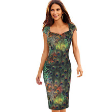 Womens Elegant Vintage Peacock Feathers Print Retro Cap Sleeve Vestidos Casual Party Evening Sheath Bodycon Dress 398