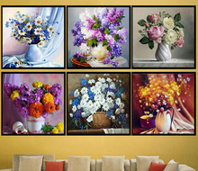 5D Triptych Home decor Crystal Diamond embroidery Mosaic painting Rhinestone pattern Cross stitch Peony Flower rose Still Life