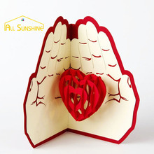 Love In Hand 3D Laser Cut Pop Up Greeting Card Handmade Paper Craft Vintage Custom Postcards Valentine's Day Gifts