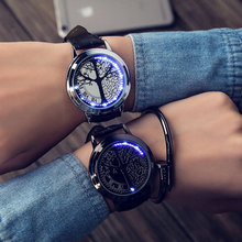 Lovers Watch Leather Band Touch Screen LED Watches with Tree Shaped Dial Blue Light Display Time Wristwatches For Men Women XYY
