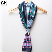 GONZETANNK 2017 Spring New Womens Beautiful Chiffon Scarves Double Small Silk Satin Necklace Light Embroidered Retro Scarf