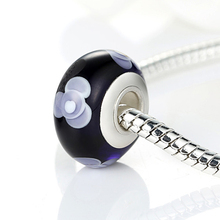 Silver Color Black Flower Charmilia Bead  Fit  Bracelet Necklace Original Accessories Beads & Jewelry Makings WEU6311