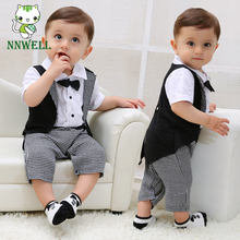 NNW Newborn Gentleman Infant Baby Boy Tuxedo T-shirt Tops+Pants Outfit Clothes Set 0-24m Black+white