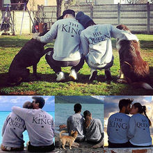 2016 Couple Sweatshirt The King and His Queen- Love Matching Shirts Hoodies - Couple Tops(China)