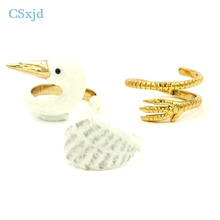 CSxjd New design enamel white swan ring opening fashion ring 1 set(China)