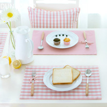 DUNXDECO Table Placemat Plate Cover Mat Classical Pink Check Party Desk Accessories Home Hotel Table Decoration