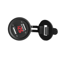 Newest Waterproof 3.1A Dual USB LED Charger Socket Voltage Voltmeter Outlet Panel  Heat-resistant 12V DC Motorcycle Car