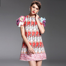 Print Pretty Dresses Hot Sale Short Sleeve Fashion 2017 Beadinng Above Knee Appliques Women Straight Topshop Summer Dress