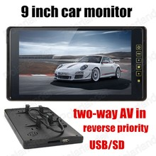 New Arrival  reverse priority 9 inch TFT LCD Car Monitors for DVD Reverse Camera car accessories 2-channel video input