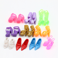 10 pairs Doll Shoes Fashion Cute Colorful Assorted shoes for Barbie Doll with Different styles High Quality Baby Toy(China)