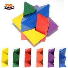 YKLWorld 6pcs/ Set Traditional Brain Teasers Wooden Colorful Hexagonal Magic Puzzle Luban Lock Wood Lock Kid Educational Toy -48