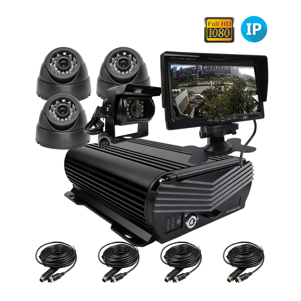 "Free 4 Channel 1080P 2TB HDD IP Car NVR Video Recorder Phone PC Remote Monitor Rear View 1080P IP Car Camera 7"" Monitor"