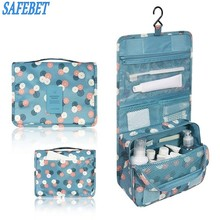 SAFEBET Brand Folding Portable Cosmetics Storage Bag Women Travel Organizer Waterproof Hanging Makeup Finishing Bag Cheap Bags(China)