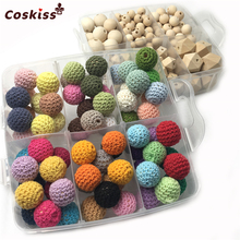 2 Boxed Natural Round Geometry Hexagon Wooden Teether Beads Mixed Color Crochet Beads For DIY Baby Teething Necklace