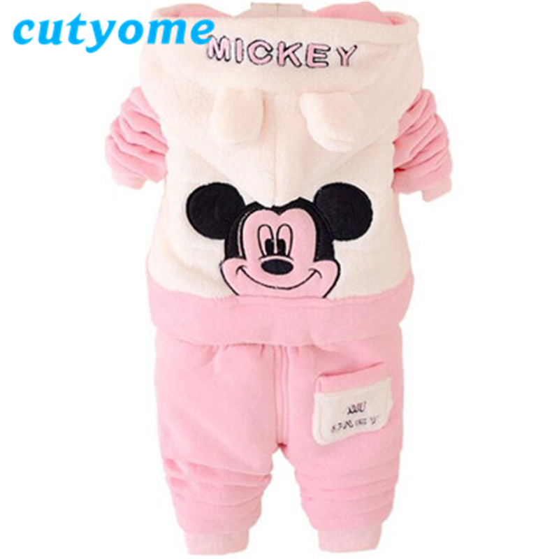 Winter Brand Designer Boys ClothingToddler Kids Girls Christmas Snowsuits Fashion Hooded Mickey Mouse Childrens Sports Outfits<br><br>Aliexpress